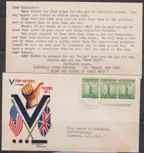 Newfoundland/USA - 1942 Patriotic Cover Fleetwood VF