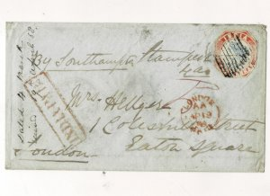 india 1858 4as litho cover extrmely rare cover