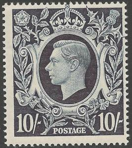 GB SG478 1939 10/= DULL BLUE MNH