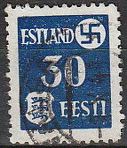 Stamp Germany Estland Mi 03 WWII 1941 War Occupation Emblem Estonia Used