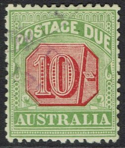AUSTRALIA 1909 POSTAGE DUE 10/- WMK CROWN/DOUBLE LINED A PERF 12 X 12.5 USED