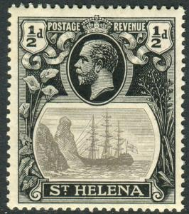 ST HELENA-1923 ½d Grey Black BROKEN MAINMAST lightly mounted mint Sg 97a