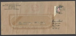 Barbados SG D2a var, 1935 diagonal bisect w/ 1/2d ms value on cover, w/ BPA cert