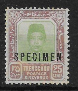 MALAYA TRENGGANU SG12s 1915 25c GREEN & DULL PURPLE SPECIMEN MTD MINT