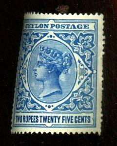 Ceylon #163 MINT F-VF OG LH Cat $38
