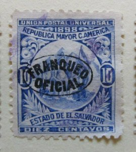 A6P38F212 Salvador Official Stamp 1898 Wmk Liberty Cup optd 10c used