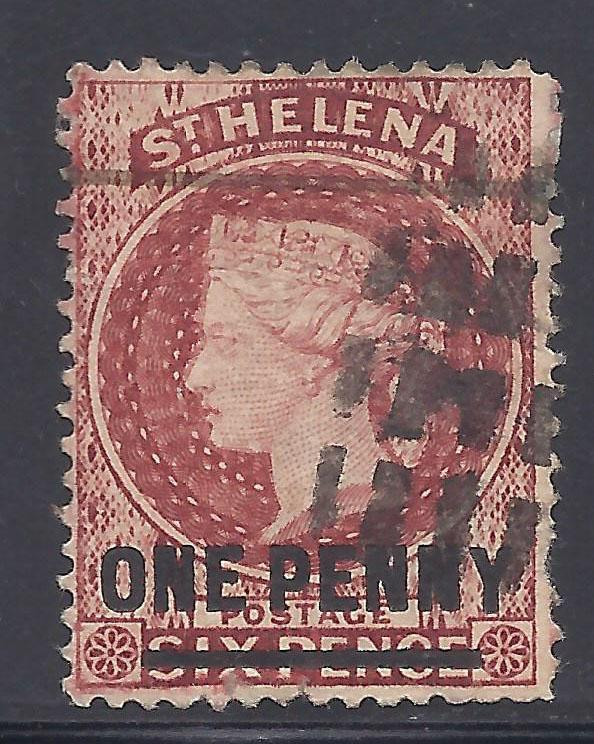 St. Helena # 18 Used - 1868 1p on 6p Queen Victoria