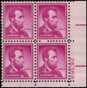 US #1036a ABRAHAM LINCOLN MNH LR PLATE BLOCK #26388 DURLAND .50¢