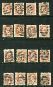 6 cent  lincoln  pink Collection   16 Diff  numerical cancels UNIQUE