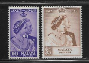 MALAYA -PERLIS, 1-2, MINT HINGED, CORONATION ISSUE