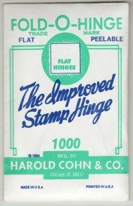 Vintage unopened flat peelable Fold O Hinge stamp hinges
