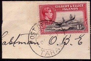 GILBERT & ELLICE IS GVI on 1946 piece POST OFFICE / TARAWA cds.............33754
