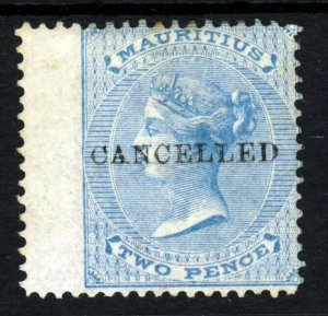 MAURITIUS QV 1863 Two Pence Blue Overprinted CANCELLED SG 59  MNG