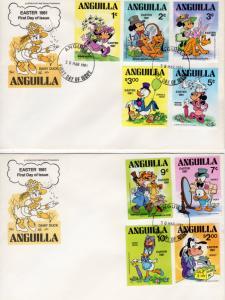 Anguilla 1981 Sc# 434/442 1981 Disney Characters Set (9) OFFICIAL FDC (2)