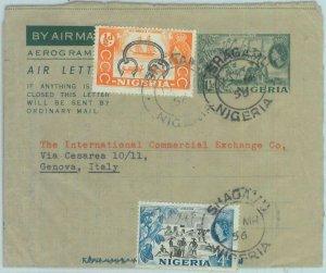89185 - NIGERIA - POSTAL HISTORY - Stationery AEROGRAMME  cover to ITALY 1956