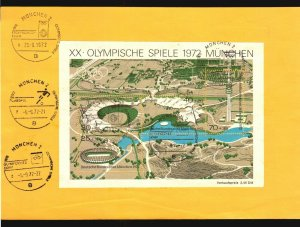 PARAGUAY & GERMANY DUAL FRANKING OLYMPIC MUNCHEN LUFTHANSA CANCEL 1972 SOCCER