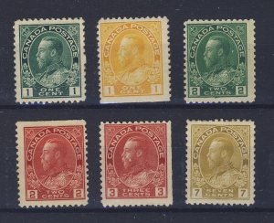 6x Canada WW1 Admiral Stamps #104-105as-106as-107-109as-113 Guide Value= $158.00
