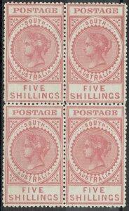 SOUTH AUSTRALIA 1904 QV THICK POSTAGE 5/- BLOCK */** WMK CROWN SA WITH CERT