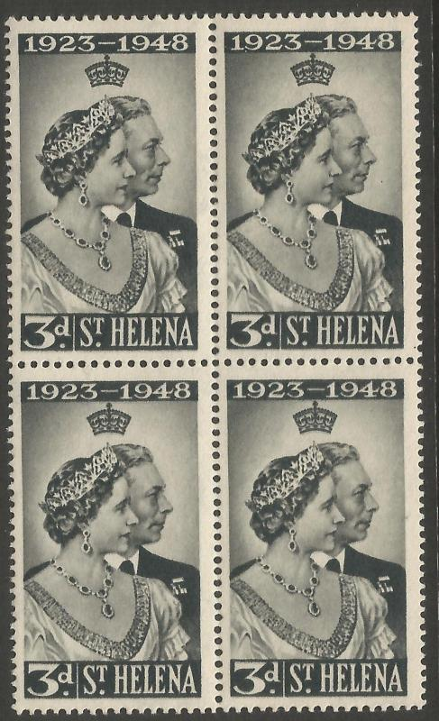St Helena 1948 Royal Silver Wedding Block Of 4 Unmounted Mint