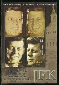 UNION ISLAND   40th MEMORIAL ANNIVERSARY OF JOHN F. KENNEDY SHEET  MINT NH