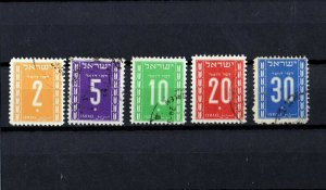 5 ISRAEL STAMPS 1949 SECOND POSTAGE DUE STAMPS. USED