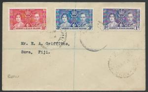 GILBERT & ELLICE IS 1937 Reg cover BERU undated cancel to Fiji.............25880