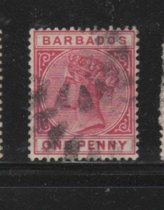 BARBADOS #61  1882  1p   QUEEN VICTORIA    F-VF  USED   g