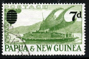 PAPUA NEW GUINEA QE II 1955 7d. Surcharge on 1 Shilling Green SG 17 VFU