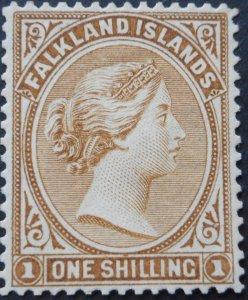 Falkland Islands 1896 QV 1/- SG 38 unused