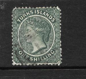 TURKS ISLANDS 1881  1/- SLATE GREEN  QV FU SG 52