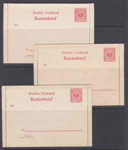 Germany Mi K1, K3, K4 mint. 1897 10pf Letter Cards, 3 different, clean lot