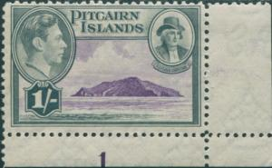 Pitcairn Islands 1940 SG7 1/- Christian and island imprint 1 MNH