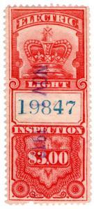 (I.B) Canada Revenue : Electric Light Inspection $3 (1895)