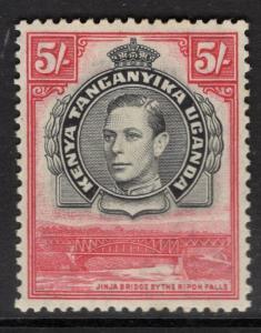 KENYA, UGANDA & TANGANYIKA SG148 1938 5/= BLACK & CARMINE p13¼ MTD MINT
