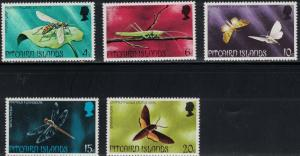 Pitcairn Islands SC151-155 Insects-Grasshoppers-PitcairnMoths-BananaMoth-MNH'75