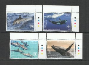 R0181 2020 TONGA WHALES & DOLPHINS OF THE WORLD MARINE LIFE FAUNA SET MNH