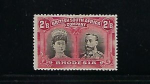 RHODESIA SCOTT #113 1910 DOUBLE HEAD 2/6 SH (CARMINE/BLACK) PERF 14- MINT HINGED