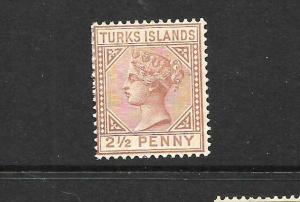 TURKS ISLANDS  1882-85   2 1/2d   QV  MH    SG 56