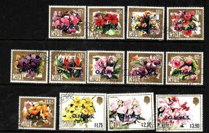 Niue-Sc#O1-O13- id5-used Official short set to $3.90-Flowers-1985-7-