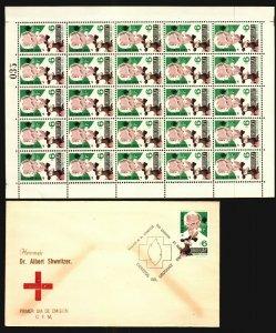 Albert Schweitzer Holding Fawn medical Nobel Uruguay #c303 full sheet x25 + fdc
