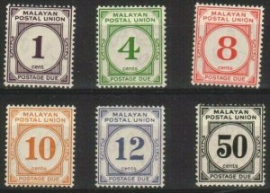 MALAYA POSTAL UNION 1936-38 Postage due set fine mint SG cat £160..........48834