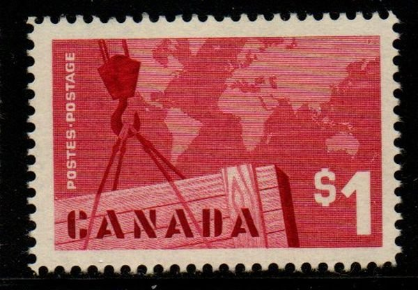 Canada Sc 411 1963 $1 Export Trade stamp mint NH