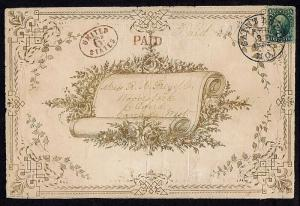 SC# 32 ON BIG VALENTINE COVER FEB 11 1853 PMK RED PAID & U STATES HANDSTAMP LOOK