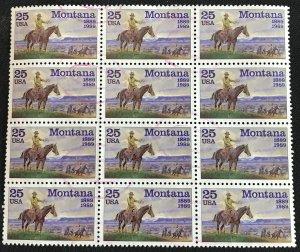 US #2401 Used Block of 12 Montana SCV $3.00 L35