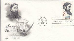 1972, Honoring Sidney Lanier, Artcraft, FDC (D13160)
