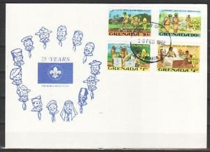 Grenada, Scott cat. 1088-1091. Scouting issue. Bee Keeping. First Day Card. ^