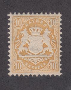 Bavaria Mi 35I MNH. 1875 10kr yellow Coat of Arms, Major Plate Fault in UR 10