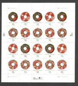 3249-52 (3252b) Holiday Wreaths  Sheet Of 20 Mint/nh