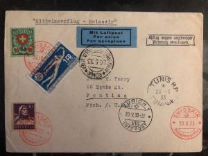 1933 Zurich Switzerland Airmail First Flight Cover to Tunisia # 200 215 Swissair