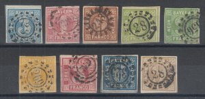 Bavaria Sc 2/12 used 1849-1862 Numerals, 9 diff w/ well centered millwheel X-s